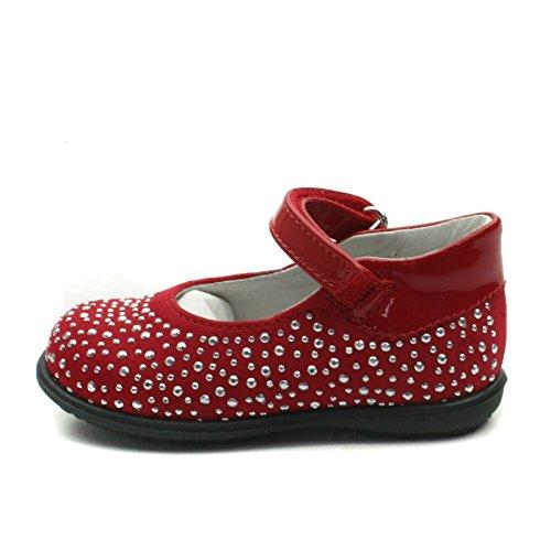 SB158 Studio BIMBI Dolly Shoe w/Studding Detail Smart for Girls >      > Dolly chaussures avec des détails cloutés pour la fête pour les filles Red (rouge)
