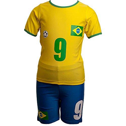 H2O Brazil No 9 Football Boys Sunsafe UPF40  Two Piece Top and Shorts Swim Set - Yellow - 5 6 Years