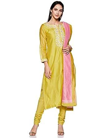 BIBA Women's cotton achkan Salwar Suit Set (SKD5836_ Olive Green_ M (34))
