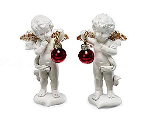 Sunny Toys 14790 Polyresin Figurines of Angels Standing on a Heart Holding Red Bauble Approximately 11 cm [Pack of 2 in Assorted