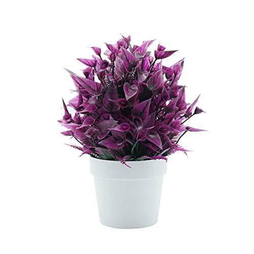 MoO1deer 1 Stück künstliche Calla Blume Mini Topfpflanze Bonsai-Büro Home Desktop Decor für Zuhause rosarot (Mini Bareback)