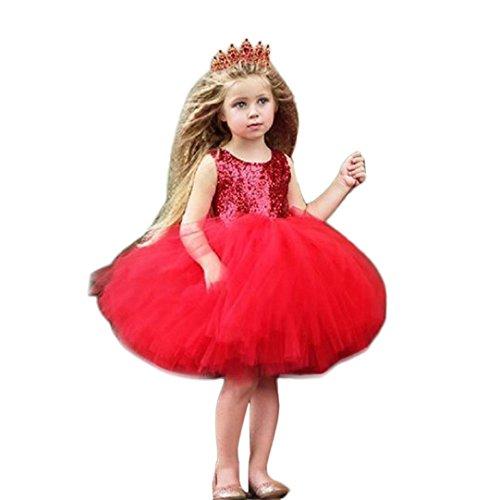 der Festliche Kinderkleider Brautjungfern Hochzeit Partykleid Karneval Kleid Mädchen Ärmellos Herz Pailletten Sommerkleider Prinzessin Tutu Tüll Kleid (red, 90CM 2Jahre) (Kind Red Pailletten Schuhe)