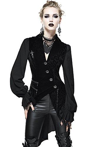 Gothic Damen Mode Schwarz Vintage Sexy Spitze Langarm Tops Jacke Steampunk Frauen Elegante Cocktails Party Unregelmäßigen Mantel (L)