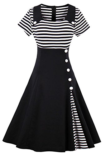 Plus Größe Kleid 50s (50s Retro Kleider, VERNASSA Damen Vintage 1950er A-line Baumwoll Swing Kleid für Rockabilly Evening Party Cocktail, Multicoor, S-Plus Größe)