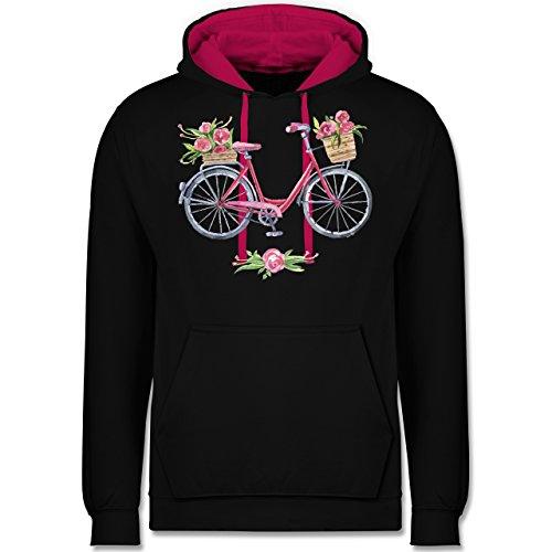 Vintage - Vintage Fahrrad Wasserfarbe Blumen - Kontrast Hoodie Schwarz/Fuchsia