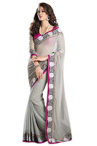 Reeva Trendz Present's New Desinger Grey Color Georgette Fancy Saree