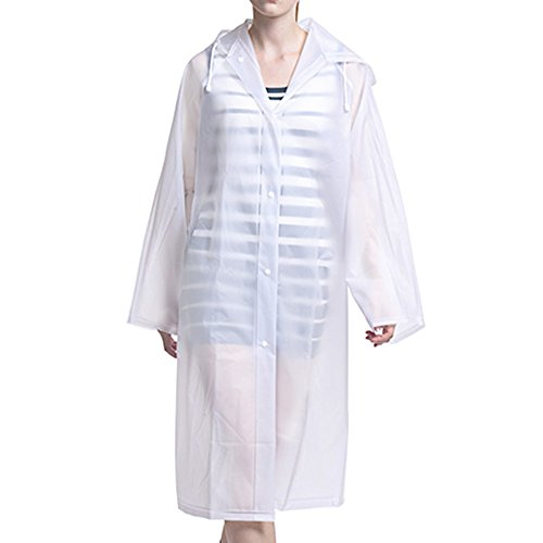 Zacro Portable Adult Translucent Hooded Rain / Raincoat Poncho with Sleeves - Large Size(145 / 70cm) – Keep The Rain / Snow / Water off Your Clothes, for Camping / travel / Mountaineering