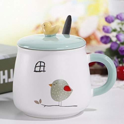 MugDisne qecdp* Keramiktasse Handgemalte Keramikschale der Grammschalen-Karikatur mit Deckellöffel-Frühstücksschale(225ml-325ml)