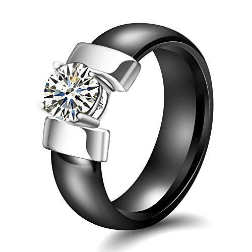 AllRing Herrenring aus Keramik, Schwarzer und weißer Diamant Keramikringe mit Zirkon-Ringen