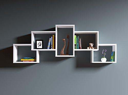 BOLD Étagère murale - étagère à livres pour décoration de salon en bois dans un design moderne (Blanc)