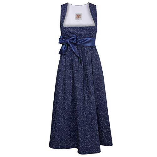 Umstandsdirndl Margaret in Dunkelblau mit Blumen und blauer Schleife