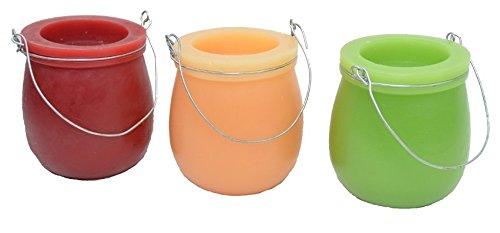 Hellum LED-velas perfumadas, 8,5 x 8 cm, luz blanca, conjunto de 3, rojo/verde/amarillo 300338