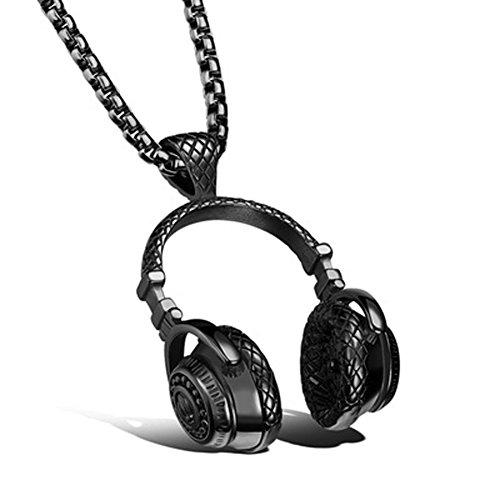 Chiconon Herren Anhänger Schwarz Kopfhörer Design Anhänger 3.2cm Und Kettenlänge 55cm aus Titan + Edelstahl + Einbrennlack Jungen Halskette (Mit Kette)