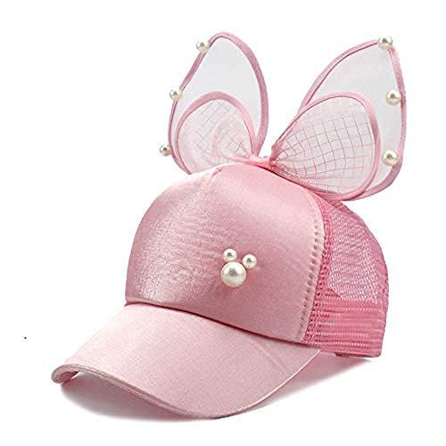 DWcamellia Hut Großer Bogen schwarz weiß rosa Spitze Blume Ohr Baseball Cap Perle Kind Sonnenhut Mesh Cap, Pink