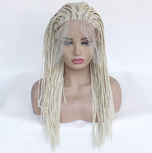 Vordere Spitzeperücke für Frauen, gerade langes Haar häkeln Haar-Zöpfe synthetisches natürliches Flechten-Haar, flaumige realistische Faserperücke,28inches 333 Zopf
