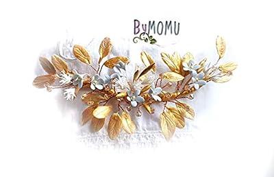 Coiffure Bride Parure Feuilles d'Or pour les cheveux -Fleurs Porcelaine-porcelaine à froid Accessoires pour les cheveux mariée-peigne à cheveux