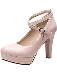 AIYOUMEI Damen Knöchelriemchen Pumps mit Plateau und Dicker Absatz High Heel  Party Hochzeit Schuhe c1e3c0bb67