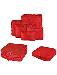 HOMEBASICS: 5 In 1 Red Easy Travel Bag Organizer, Set Of 5 Bags Assorted Sizes - RED Color