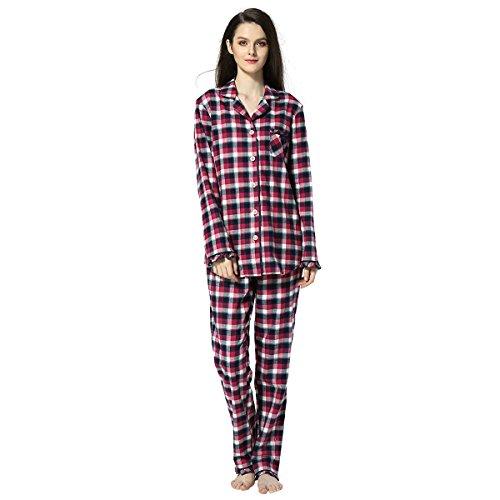Frauen-Baumwolle Plaid Pyjama Set Langarm Knopf nach unten Flanell Lounge Nachtwäsche Rotwein