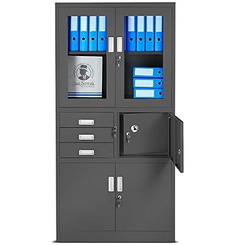 Aktenschrank C18S, Büroschrank mit Tresor Safe, Flügeltüren aus Glas 185 cm x 90 cm x 40 cm (anthrazit/anthrazit)