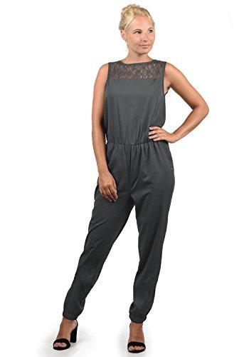 BlendShe Amor Damen Jumpsuit Overall Einteiler Mit Spitze Und Rundhals-Ausschnitt, Größe:XL, Farbe:Ebony Grey (75111)