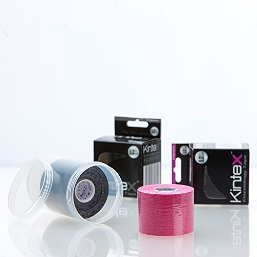 2 Rollen Kintex Classic Kinesiologietape + Ziatec Tape Schutzdose, Farbe:1 x pink / 1 x schwarz