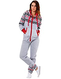 ed1ecb5ab5 Parsa Fashions ® Womens Ladies Aztec Print Hooded Zip Up Onesie Jumpsuit  Plus Sizes S-