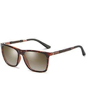 BVAGSS Hombre Gafas De Sol Polarizado Modelo Vintage Classic Gafas Protección UV400 Marco de metal AL-MG WS046