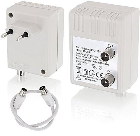 Digital Antennenverstärker für 2 Geräte - Verstärkung 2x15dB - 47-862MHz - geeignet für Kabel-TV DVB-T Sky