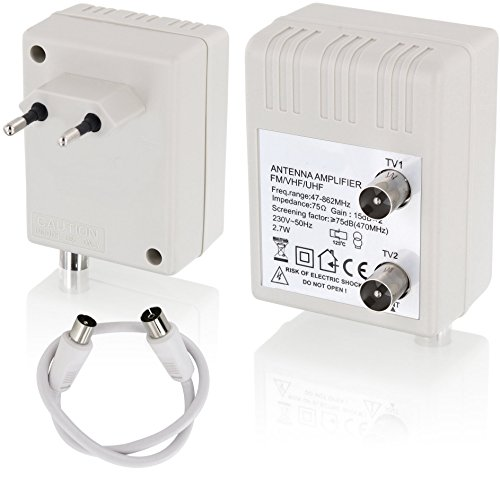 2-Geräte Digital Steckdose Antennenverstärker - 2x15dB - 47-862MHz - geeignet für Kabel-TV Sky Full HD 1080p DVB-T DVB-T2 DVB-C Radio (UHF, VHF, UKW)