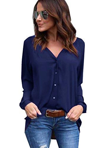 Yidarton Damen Bluse Chiffon Langarm Oberteile Elegante Mode Hemd Asymmetrisch Top (Small, Casual-marineblau) (Saison-langarm-top)
