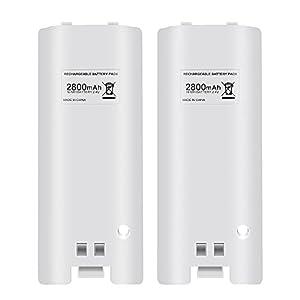 Pekyok Akku Batterie Pack für Wii, LU08 2pcs 2800mAh Akku Batterie Pack mit hoher Kapazität für Nintendo Wii Remote…