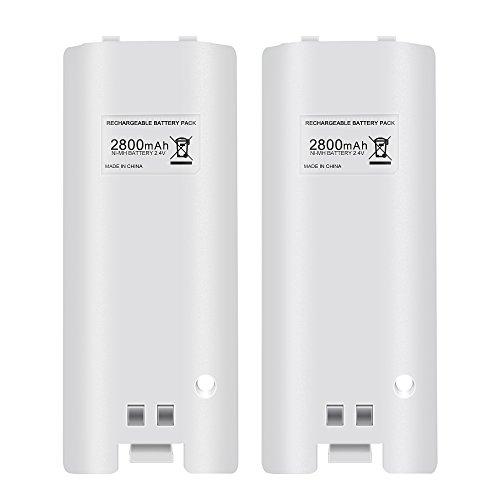 2 x Wiederaufladbar Batteries für Wii, Prous Wii Battery Pack LU08 2800mAh High Capacity Akkus Pack für Nintendo Wii Remote Controller