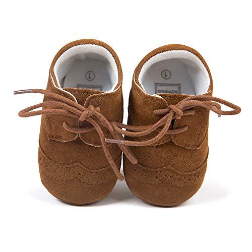 Baby Jungen Schuhe Säugling Weiches PU Sneakers mit Schnürung Braun 6-12 Monate