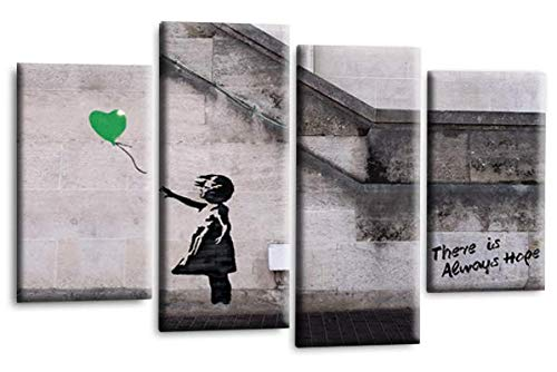 Le Reve Canvas Art Banksy Hope Leinwandbild, Motiv: Mädchen mit Luftballon, Peace Love Graffiti, Grün/Grau