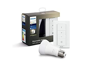 Philips Hue White Wireless Dimmer Kit, Smart Bulb LED Kit (E27 Edison Screw) with Bluetooth Includes Dimmer Switch, Works with Alexa and Google Assistant