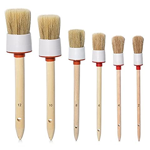 FOUNDOVE Car Motorcycle Natural Automotive Boar Hair Detail Brush (Set of 6 ),Detailing Brush Set for Cleaning Weels, Interior, Air Vents, Emblems,Exterior,