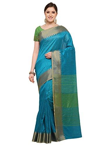 Varkala Silk Sarees Women's Raw Silk Saree (TD1215AD, Turquoise Blue, Free Size)