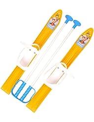 MARMAT Ski pour enfants, fixation de ski + bâtons de ski en plastique, 5couleurs, 60cm