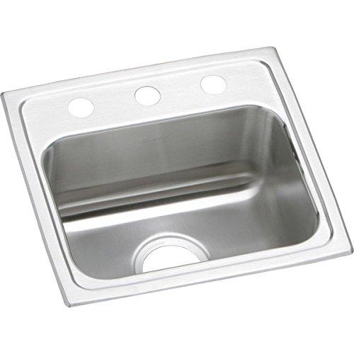 Elkay LR17162 2-Hole Gourmet 16-Inch x 17-Inch Single Basin Drop-In Stainless Steel Kitchen Sink by Elkay (Elkay 16)