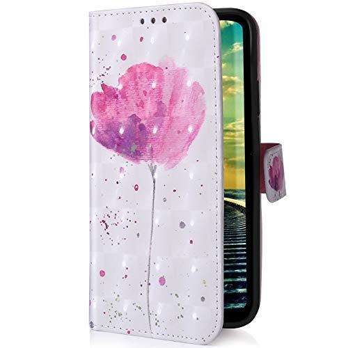Uposao Kompatibel mit Samsung Galaxy A20e Handyhülle Glitzer Bling 3D Bunt Leder Hülle Flip Schutzhülle Handytasche Brieftasche Wallet Bookstyle Case Magnet Ständer Kartenfach,Rosa Blumen