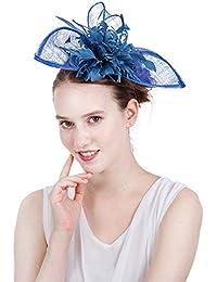 Palacio Europeo Novia Boda Sombreros De Las Mujeres Blue Bowler Hat  Accesorios para El Cabello Banquete edb5d7eb3dd