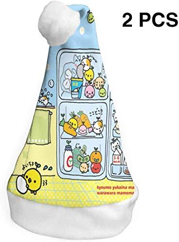 Aeykis Weihnachtsmützen 2er Pack Cute Cartoon Food Sommer Santa Hüte Kostüm Classic Hut für Kinder / Erwachsene (Cute Food Kostüm)