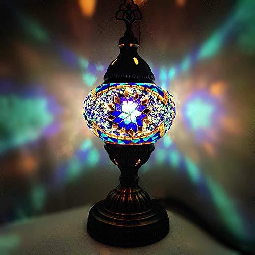 Glas Tisch Lampe (Türkisch / Marokkanische / Tiffany Stil Glas Schreibtisch Tisch Lampe 29cm - TREE_B10)