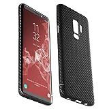 VIVERSIS echte Carbon Hülle für Samsung Galaxy S9 Plus, schwarz, ultradünn, sehr leicht, robust, kabelloses Laden, magnetisch, Premium Qualität - Made in Germany