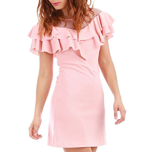 La Modeuse - Robe courte manches courtes Rose