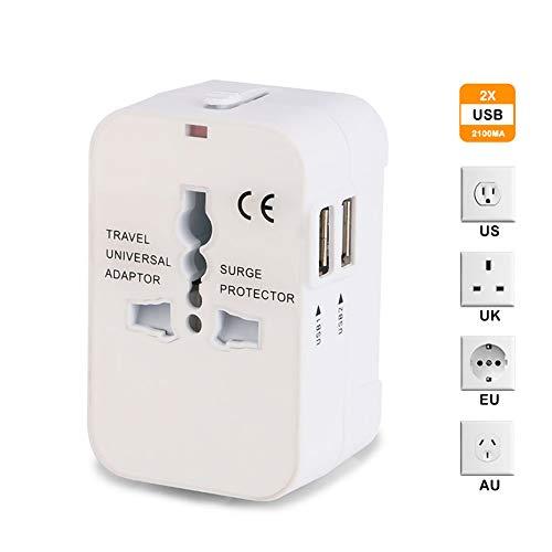 Universal Reiseadapter, Weltweit All-in-One Netzteil Netzstecker Internationales Ladegerät mit 2 USB Ladeanschlüssen für US EU UK AUS Europe Mobiltelefone - Weiß - 60 Hz Usa-kit