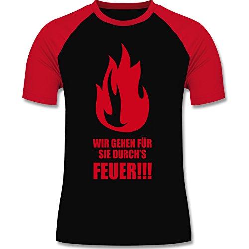 Feuerwehr - Wir gehen für Sie durchs Feuer - zweifarbiges Baseballshirt für Männer Schwarz/Rot