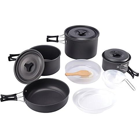 15pcs acampar al aire libre utensilios de cocina, cocina de picnic Cuenco Pan Pot Set