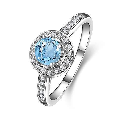 SonMo Ring 925 Sterling Silber Trauringe Verlobungsring Paarringe Silber Hohl Kreis Zirkopnia Runde Solitär Ringe Hellblau Topas Brilliantschliff Ring Damen 60 (19.1)